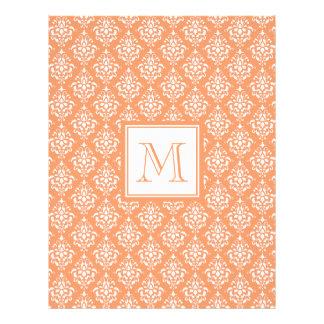 Orange Damask Pattern 1 with Monogram Custom Flyer