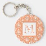 Orange Damask Pattern 1 with Monogram Key Chain