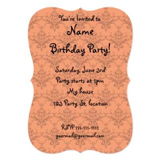 "Orange damask pattern 5"" x 7"" invitation card"