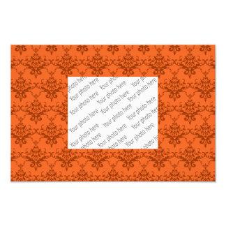 Orange damask pattern photo print