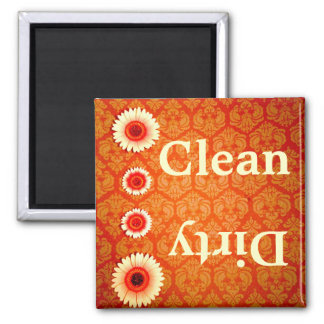 Orange Damask Pink Daisies Clean Dirty Magnet