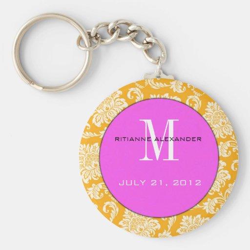 Orange Damask Pink Monogram Wedding Keychain