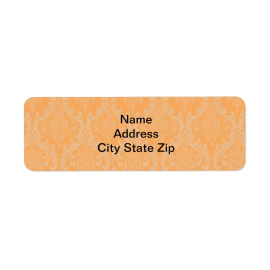 Orange Damask Return Address Label