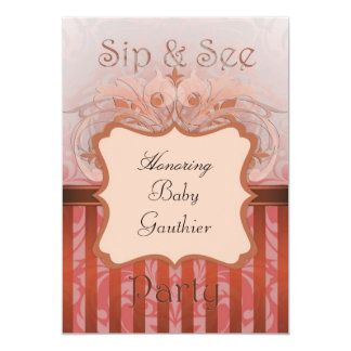 Orange Damask Sip & See Baby Shower Invitation