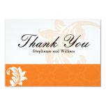 Orange Damask Wedding Thank You Card Custom Announcement