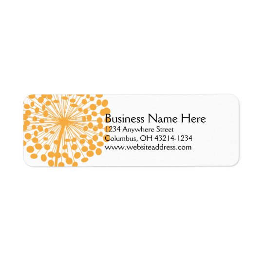 Orange Dandelion Return Address Labels 2