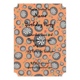 Orange dartboard pattern 13 cm x 18 cm invitation card