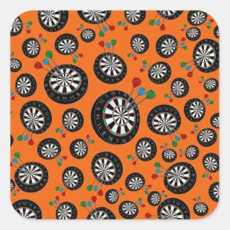 Orange dartboard pattern square sticker