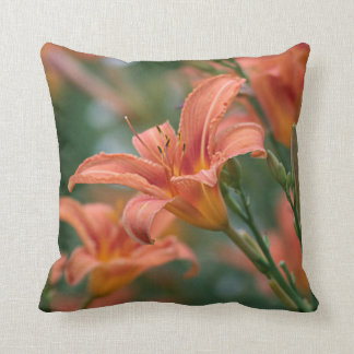 Orange day lilies throw pillow