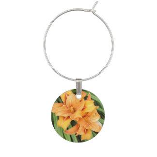 Orange Daylilies Floral Nature Wine Charm