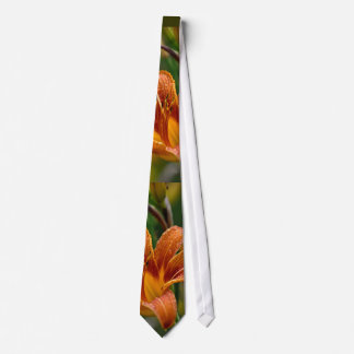 Orange Daylily & Raindrops Flower Photo Tie