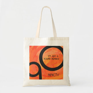 Orange Decade 90th Birthday Budget Tote Bag