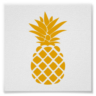 Orange Decorative Pineapple Shape Poster
