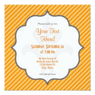 Orange Diagonal Stripes; Striped 13 Cm X 13 Cm Square Invitation Card
