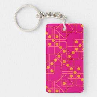 Orange Dice Double-Sided Rectangular Acrylic Keychain