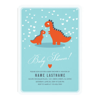 Orange Dinosaur Blue Baby Shower Invite Rounded