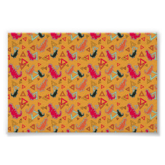 Orange Dinosaurs and Triangles Pattern Poster Print
