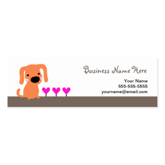 Orange Dog & Hearts Double-Sided Mini Business Cards (Pack Of 20)
