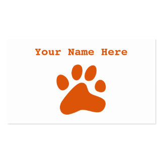 Orange Dog Paw Double-Sided Standard Business Cards (Pack Of 100)