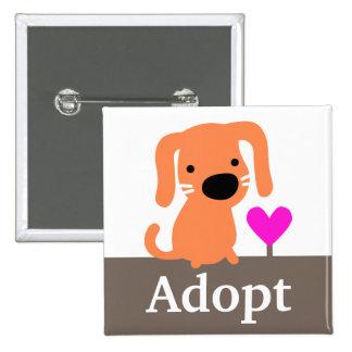Orange Dog Pet Adoption 15 Cm Square Badge