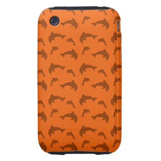 Orange dolphin pattern tough iPhone 3 cover