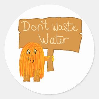 orange don't waste water classic round sticker