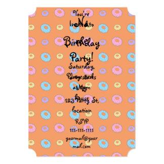 Orange donut pattern 13 cm x 18 cm invitation card
