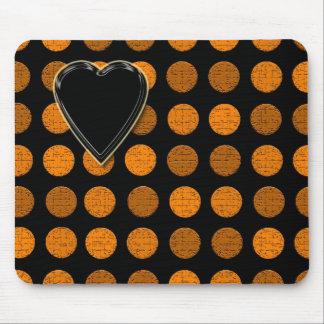 Orange Dots Heart device skins cases Mousepad