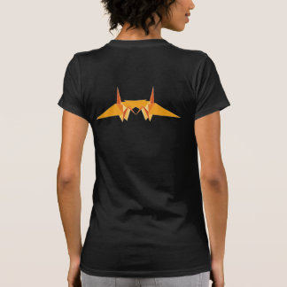 Orange Double Paper Cranes Origami Good Luck Logo T-Shirt