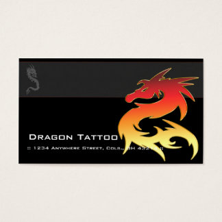 Orange Dragon Asian Tattoo Unique Business Cards
