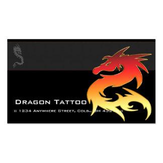 Orange Dragon Asian Tattoo Unique Business Cards
