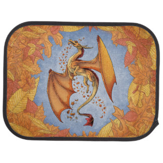 Orange Dragon of Autumn Fantasy Art Car Mat