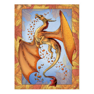 Orange Dragon of Autumn Nature Fantasy Art Postcard