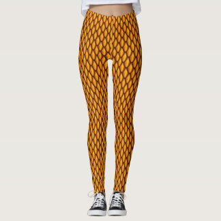 Orange Dragon Scale Leggings