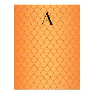 Orange dragon scales monogram 21.5 cm x 28 cm flyer