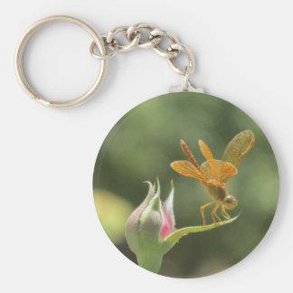Orange Dragonfly on Pink Rosebud Key Ring