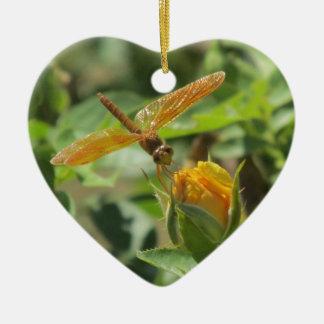 Orange Dragonfly on Yellow Rosebud Ceramic Heart Decoration