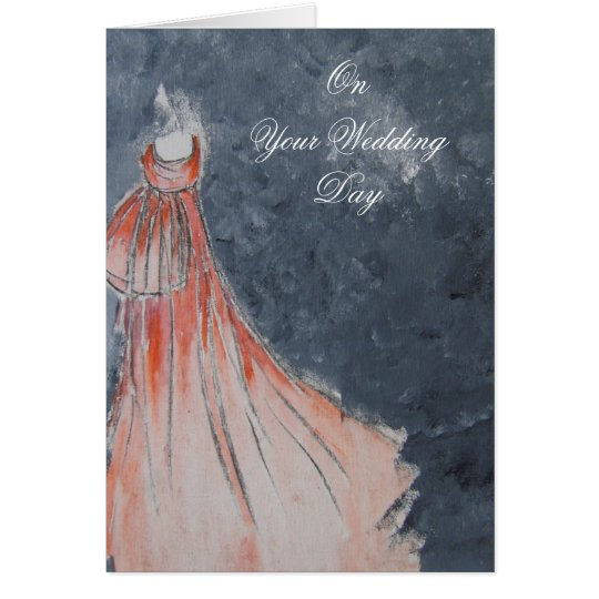 Orange Dress Wedding Card