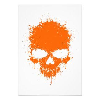 Orange Dripping Splatter Skull Invitation