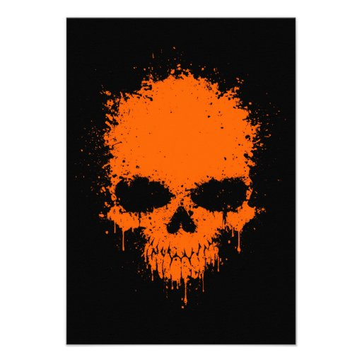 Orange Dripping Splatter Skull Personalized Invite