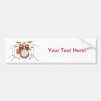 Orange Drum Kit Bumper Sticker