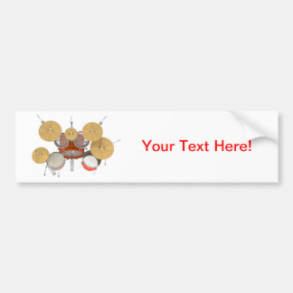 Orange Drum Kit Bumper Stickers