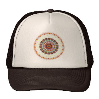 Orange Earth Kaleidoscope Mandala hat