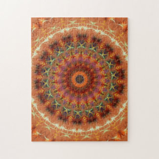 Orange Earth Kaleidoscope Mandala Jigsaw Puzzle