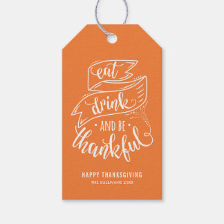 Orange Eat Drink and be Thankful Thanksgiving II Gift Tags