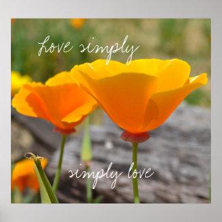 Orange Elegance Love Simply Posters