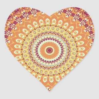 Orange Elegance Mandala Kaleidoscope Heart Sticker