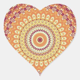 Orange Elegance Mandala Kaleidoscope Heart Sticker