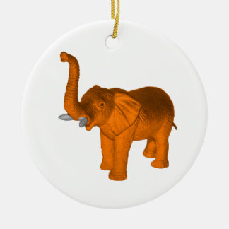 Orange Elephant Christmas Ornament