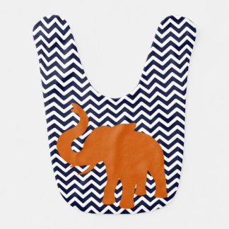 Orange Elephant With Blue Chevron Bib